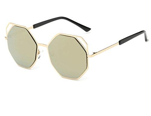 Konalla Fashion Polygon Metal Frane Reflective Sunglasses for Women's - Ice Berlin Sunglasses