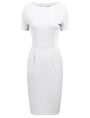 ANGVNS Women Elegant Short Sleeve Boat Neck Business Dress, White, XL