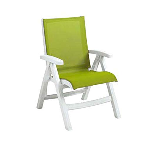 Grosfillex US393004 Stackable Belize Midback Folding Chair, White Frame & Fern Green Seat (Case of 2) by Grosfillex (Image #1)