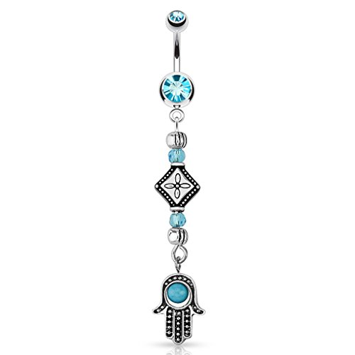 Dynamique 14G Hamsa Turquoise Bead and Cascading Tribal Beads Dangle 316L Surgical Steel Belly Button Ring - Continental Bead
