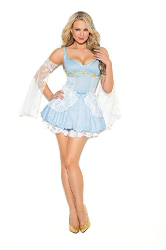 Sexy Prince Charming Costumes (Sassy Blue Cinder Ball Dress Babe Halloween Roleplay Costume 2pc Set (S, Light Blue))