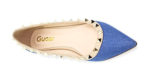 Guoar Womens Sexy Rivets Stud Buckle Shallow Mouth Pointed Toe Flat Pump Shoes Blue Demin DRsSq