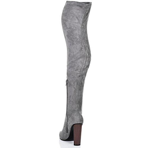 SPYLOVEBUY VAGAS Damen Blockabsatz Overknee Stiefel Grau - Synthetik Wildleder
