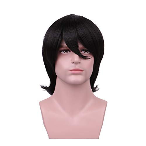 Yily Short Black Halloween Cosplay Wig For Man