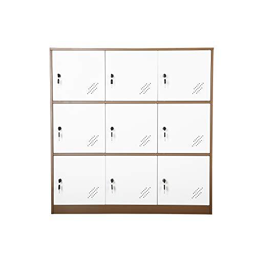 9 Door Small Bedroom Furniture,Metal Locker with Cloth Rail and Shelf,Kids Living Room Locker,Storage lockers for Office (9D) ()