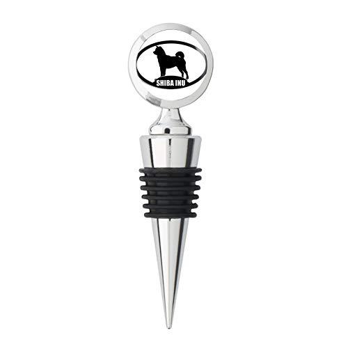 - Oval SHIBA INU Silhouette (dog breed) Metal Wine Bottle Stopper