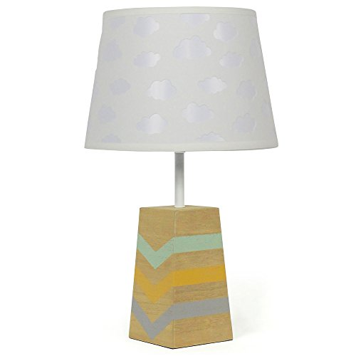 White Cloud Nursery Lamp Shade with Striped Wooden Base, CFL Bulb Included (Table Veneer Wood Shade Lamp)