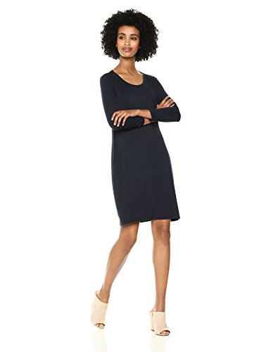 Daily Ritual Women's Jersey 3/4-Sleeve Scoop-Neck T-Shirt Dress, Navy, Medium