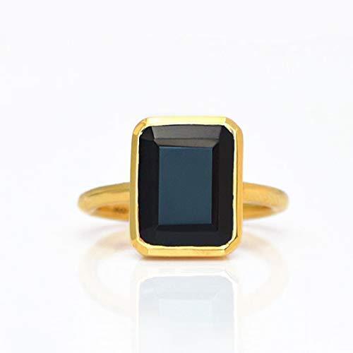 (Black Onyx Rectangular Ring, Vermeil Gold or Sterling Silver, rRTLB)