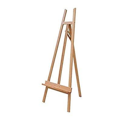 Hong Jie Yuan Wooden Easel - Adjustable Wooden Tripod Easel Display Floor Easel Sketch Painting Portable Natural - Easy to Assemble