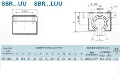 GOWE Shaft support rail SBR16 L1200MM wih 2PCS SBR16UU slide bearings