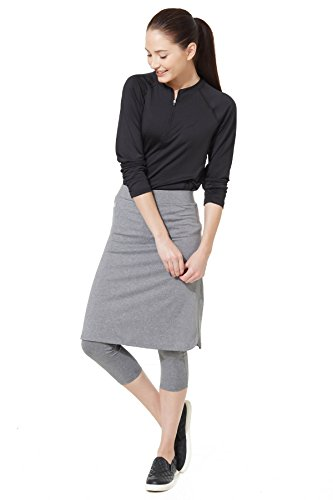 Modesty Athleisure Snoga Skirt With 3/4 Leggings Grey, Large