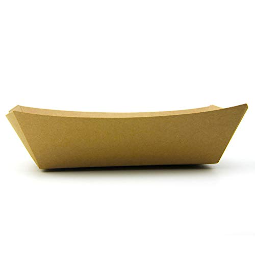 [250 Pack] 5 lb Heavy Duty Disposable Kraft Brown Paper Food Trays Grease Resistant Fast Food Paperboard Boat Basket for Parties Fairs Picnics Carnivals, Holds Tacos Nachos Fries Hot Corn Dogs by Fit Meal Prep (Image #5)