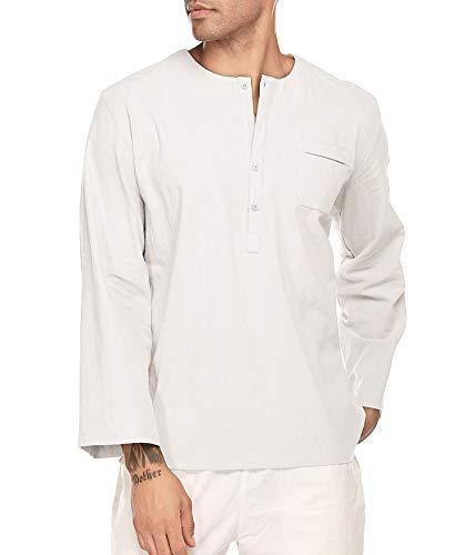 JINIDU Men's Fashion T Shirt Cotton Tee Hippie Shirts Long Sleeve Beach Top White