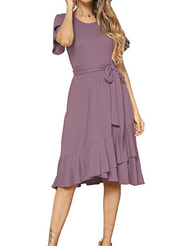 Women Casual Loose Fit Midi Summer Flowy Dress Purple Red XL