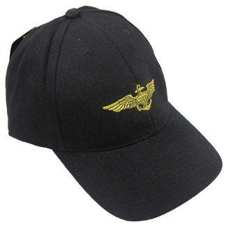 Black Navy Pilot Wings Baseball Cap