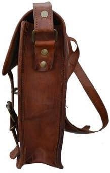 AOL 15 inch Vintage Handmade Leather Messenger Bag 13 inch Laptop Briefcase Satchel School Distressed Bag