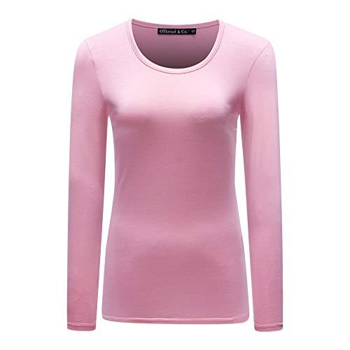 OThread & Co. Women's Long Sleeves T-Shirt Scoop Neck Plain Basic Spandex Tee (Small, ()