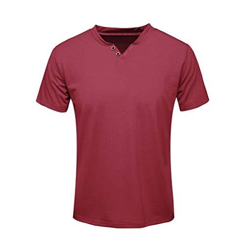 (✦◆HebeTop✦◆ Men's Premium Lightweight Ringspun Cotton Short Sleeve T-Shirt Wine )