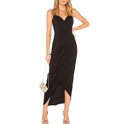 CMZ2005 Women's Sexy V Neck Backless Maxi Dress Sleeveless Spaghetti Straps Cocktail Party Dresses 71729: Clothing