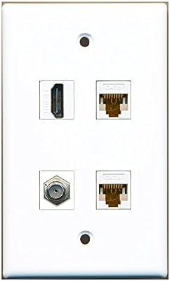 1 PORT Coax Cable TV Cat6 Rj45 Ethernet Phone Coupler Jack Wall Plate Decorative