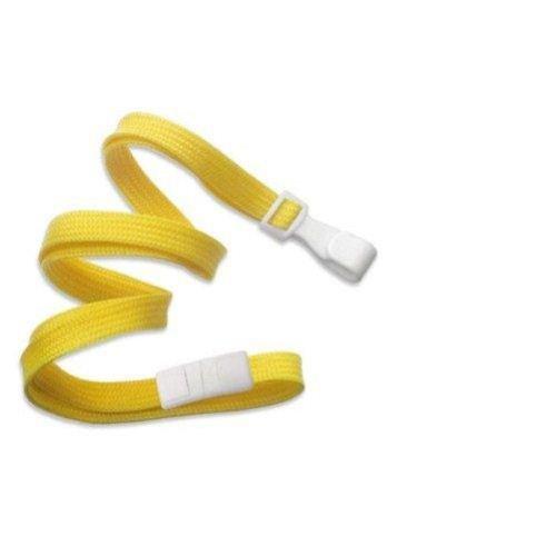 Yellow Flat Braid Break-Away Lanyard with Wide Hook - 100pk