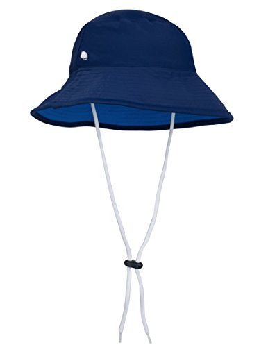 Tuga Boys Reversible Bucket Sun Hat (UPF 50+), Navy/Sky, Medium