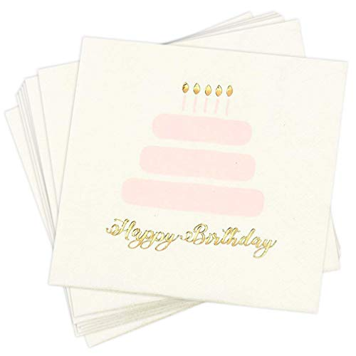 Birthday Party Cocktail Napkins - 50 Pack Gold Foil Happy Birthday Cake Disposable Paper Napkins, Perfect for Kids Birthday Decorations and Party Supplies, 5 x 5 Inches Folded, Pink and White