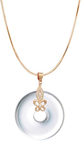 Pendant Master Aqua White - COOLSOME Silver Butterfly Necklace Circle Pendant Obsidian & Natural Crytal Disk Donut Jewelry (White Agate)