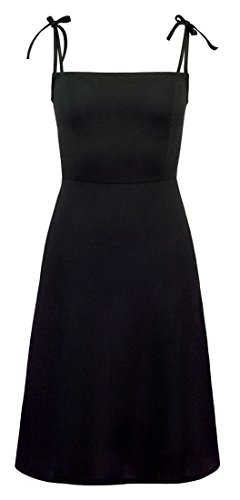 Skinny Little Black Dress - Below The Knee A-Line Black Casual Dress with Pockets and Bow Tie Straps (Medium)