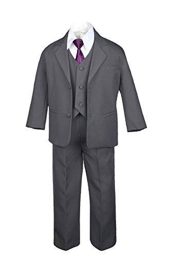 6pc Formal Boys Dark Gray Vest Sets Suits Extra Eggplant Necktie S-20 (2T)