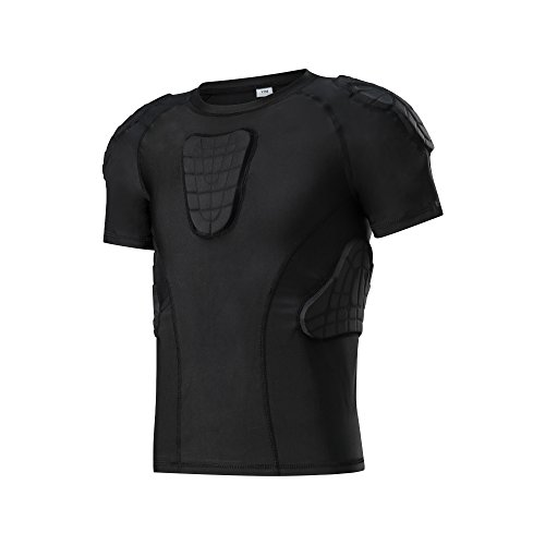 Padded Shirt Youth Boys Padded Compression Sports Protective T-Shirt Rib Chest Extreme Exercise