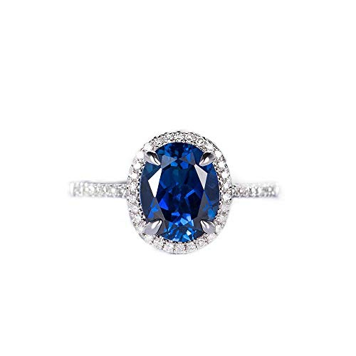 Alex's Wish List Engagement Ring for Women Created Sapphire Engagement Ring Womens Jewellery | Sterling Silver Halo Oval Shaped 2.5 Ct AAA Cubic Zirconia - AWL Lyria| Imitation Diamond Jewelry Ring |