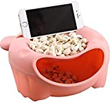 Hipat Lazy Cell Phone Holder,Cute Bear 2 in 1 Snack Serving Bowl Set with Universal Smartphone Stand Slot for Binge-Watching,Compatible for iPhone X 8 8 Plus 7 7 Plus and More