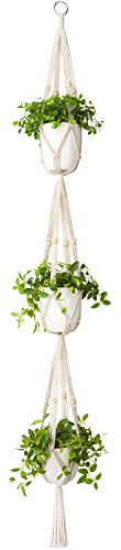 Mkono Macrame Plant Hanger 3 Tier Indoor Outdoor Hanging Planter Basket Cotton Rope with Beads 70 Inches ()