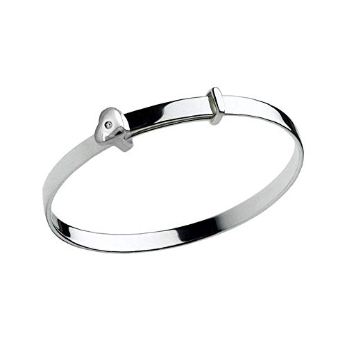 Girl's Jewelry - Sterling Silver Diamond Heart Adjustable Bangle Bracelet With Engraving