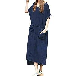 VESNIBA Women Loose Cotton Linen Short Sleeve Waistband Long Maxi Dress Kaftan Baggy