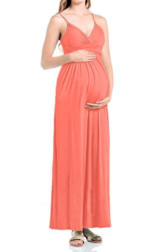 (Beachcoco Women's Maternity Sweetheart Party Maxi Dress (L, Orange)