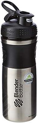 BlenderBottle SportMixer Stainless Steel Shaker Bottle, 28-ounce, Black/Black