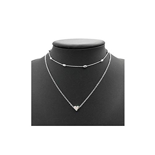 (JczR.Y Double-Layer Love Heart Necklace Pendant Multi-Layer Clavicle Chain Necklace Choker for Women)