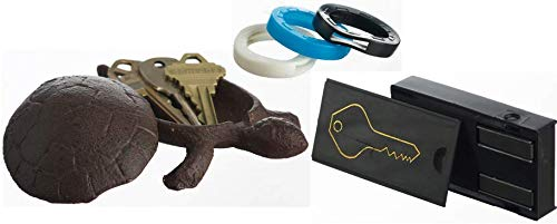 Box Down Blend Wrap - GenRev 2 Piece Hide a Key Set - Decorative Outside Turtle Statue Key Hider and Magnetic Under Car Key Box - with Added Key Identifier Rings