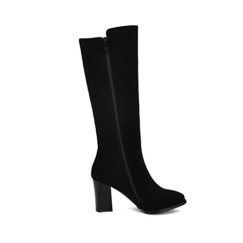 Suede Imitated Closed Solid Toe Womens High Boots Pointed Black top Heels High AllhqFashion zvwO4qc