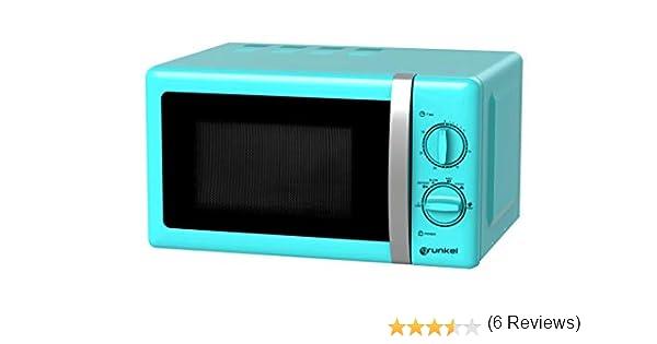Grunkel - Microondas de diseño vintage azul de 20 litros de capacidad y 700W. 6 niveles de potencia, función descongelación y temporizador hasta 30 ...