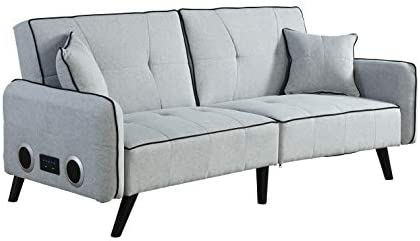 USB Foldable Bed Couch, Mid-Century Modern Sofa with USB Ports and Sturdy Wooden Legs Bed Sofa, Living Room Couch, Fabric Sofa, Living Room Sleeper Futon Grey