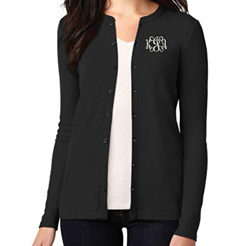 Monogrammed Women's Stretch Button Front Cardigan (Medium, Black)