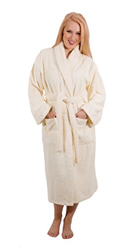 Luxury Terry Cloth Hotel Bathrobe - Premium 100% Turkish Cotton Robe Unisex (Large, Ivory)