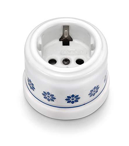 Fontini 30205612 Base de Enchufe 2P 16A Porcelana Decorada Azul