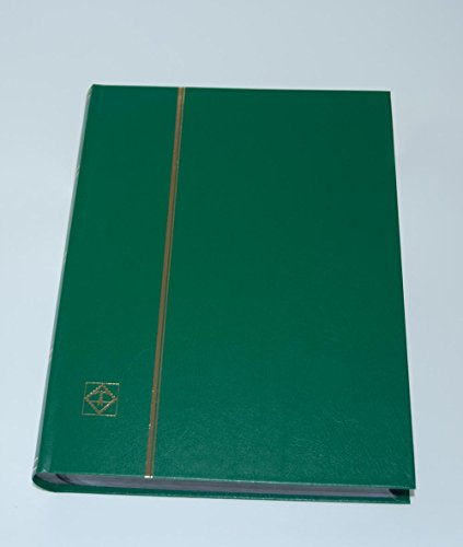 - Lighthouse Hardcover Stamp Album Stockbook With 64 Black Pages, Green, LS4/32