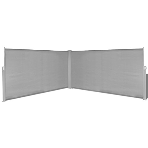 Festnight Retractable Double Folding Side Awning Screen Fence Patio Garden Outdoor Privacy Divider with Steel Pole, 5.2'(H) x 19.7'(W), Gray (Outdoor Modern Privacy Screen)