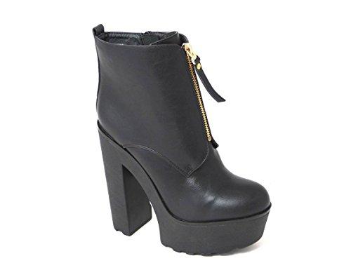 Sohle Reißverschluss Designs Plateau Schuhe Größen mit den Boot 35 Middle und 40 Zip Knöchelriemen 42 39 nbsp;verschiedene 38 37 Blockabsatz Damen rutschhemmender in Black mit q4Xxw4zR